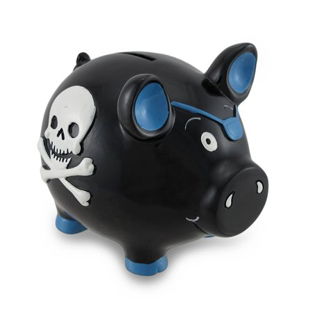 Black and Blue Pirate Pig w/Skull and Crossbones Piggy Bank Coin