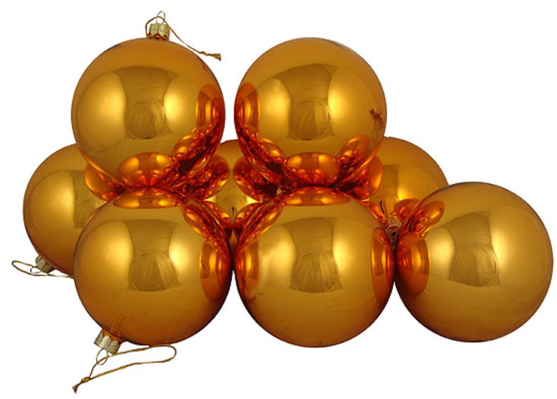 Club pack of shiny orange tango glass ball christmas ornaments