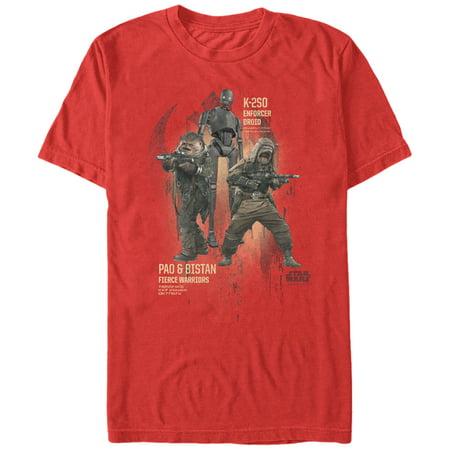 Star Wars Rogue One Men's Rebel Warriors Pao Bistan K-2SO T-Shirt
