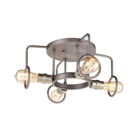 Exposed Bulb Four Light Semi-Flush Mount - Cage Ceiling Light  Weathered - image 1 of 1