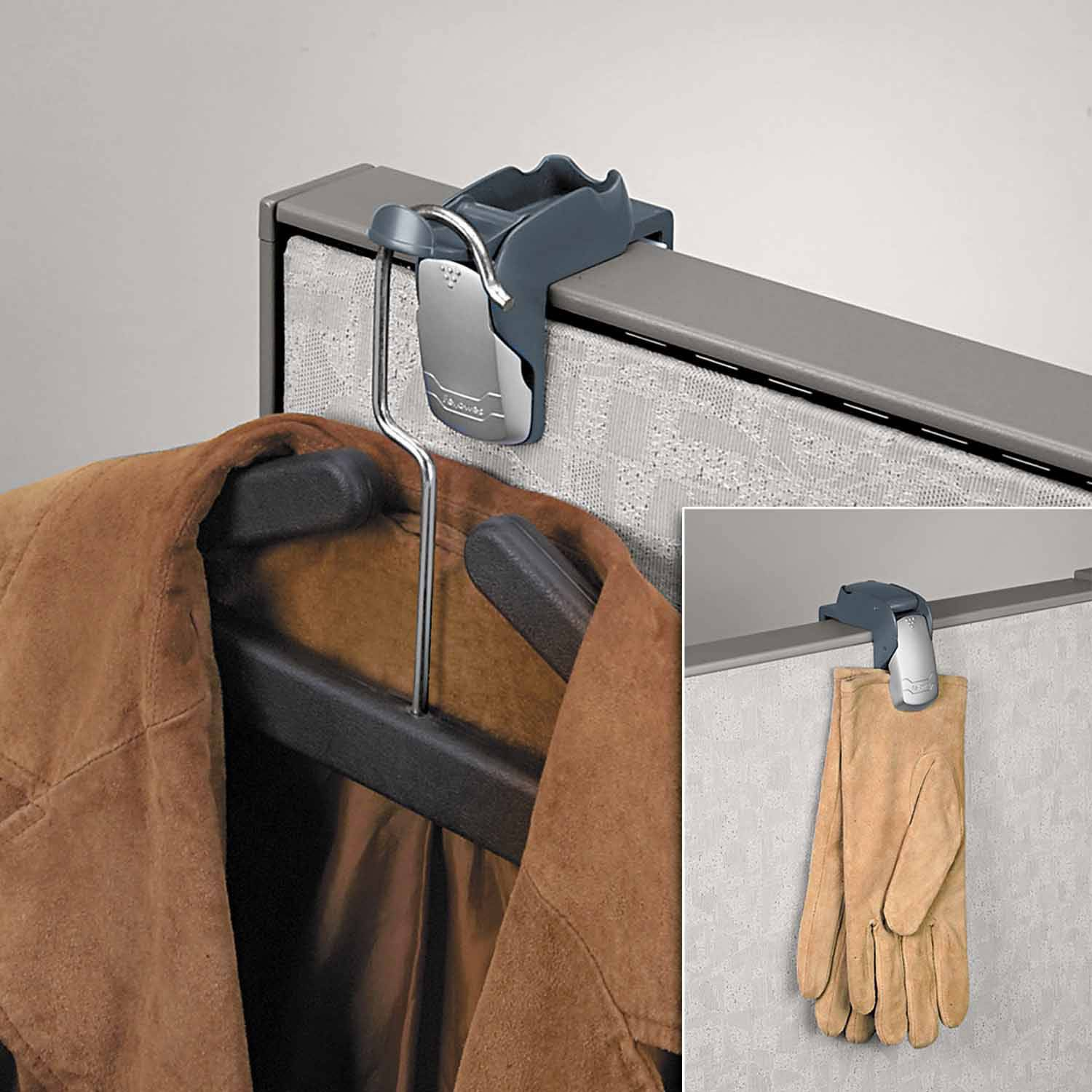 "Fellowes Pro Series Partition Additions Coat Hook and Clip, 1-5/8"" x 3"", Slate Gray"