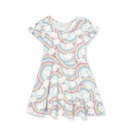 Baby Girl Rainbow Dress (The Children's Place Knot Sleeve All Over Rainbow Cloud Print Knit Dress (Baby Girls & Toddler)