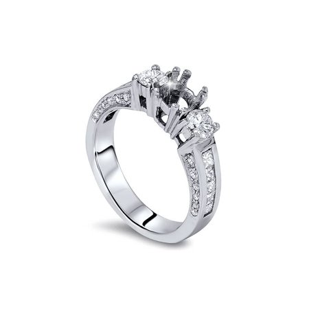 SI 1 3/4ct Princess & Round Cut Channel Set Diamond Engagement Semi Mount 14K WG