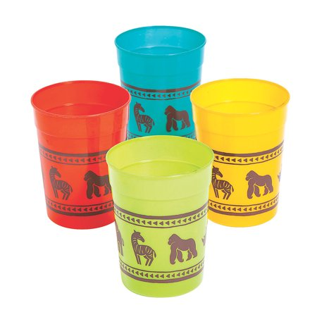 Fun Express - African Safari Vbs Plastic Tumblers - Party Supplies - Drinkware - Re - Usable Cups - 12 Pieces - Vbs Tips