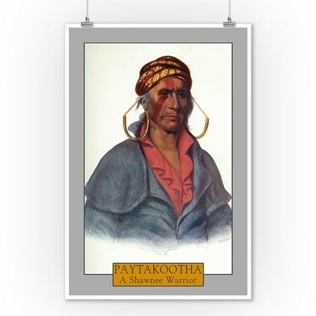 Paytakootha - Portrait of a Shawnee Warrior (9x12 Art Print, Wall Decor Travel Poster)