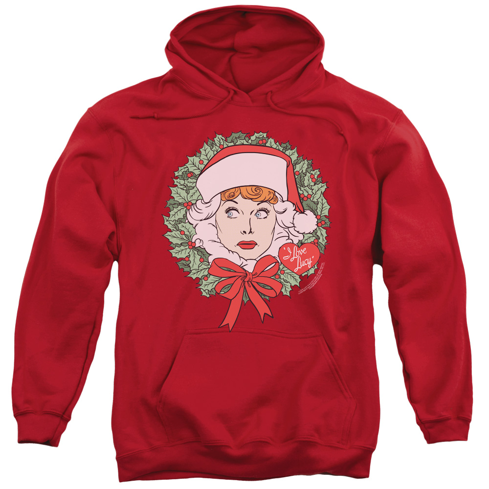 LUCY/WREATH-ADULT PULL-OVER HOODIE-RED-SM