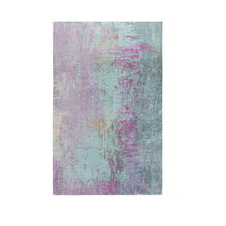 2' x 3' Lulled Watercolor Lavender Purple, Aqua Blue and Blue Gray Area Throw Rug ()