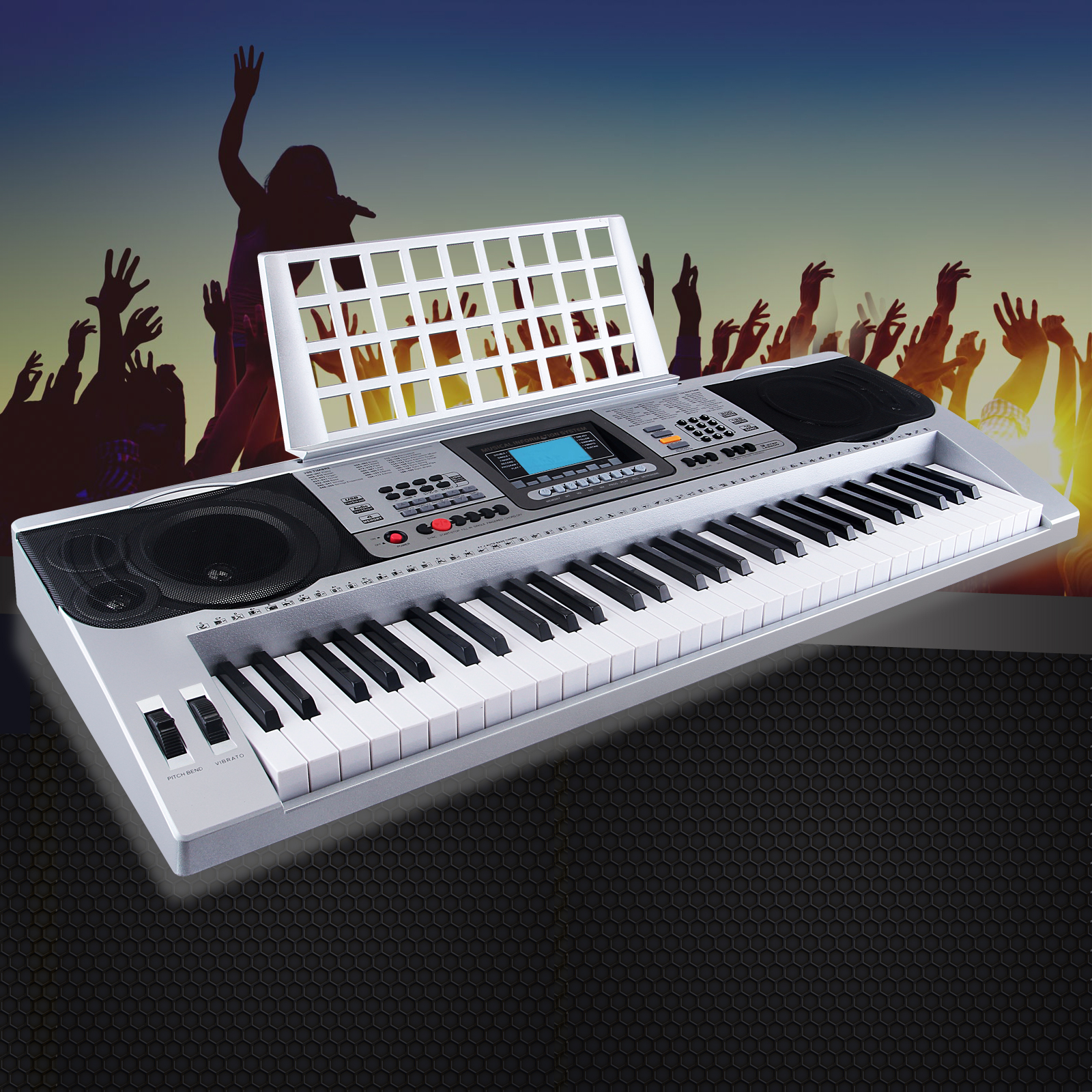 Uenjoy 61 Key Music Digital Electronic Keyboard Touch Sensitive Electric Piano Organ,Silver