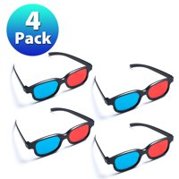 Insten 4 Pack Black Frame Red Blue 3D Glasses For Dimensional Anaglyph Movie Video Game DVD HDTV LCD LED TV Home Theater
