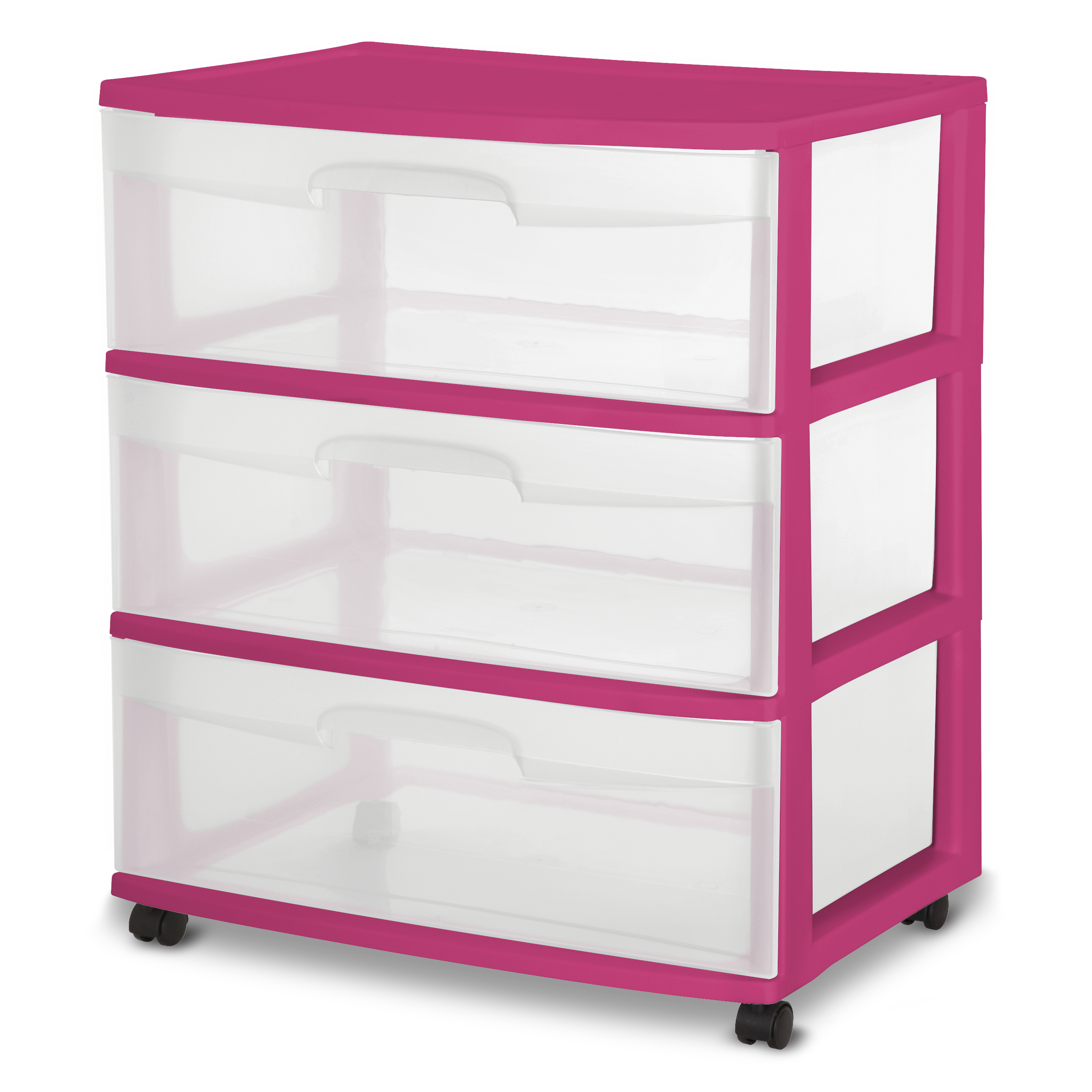 Sterilite 3 Drawer Wide, Fuchsia Supreme, Single