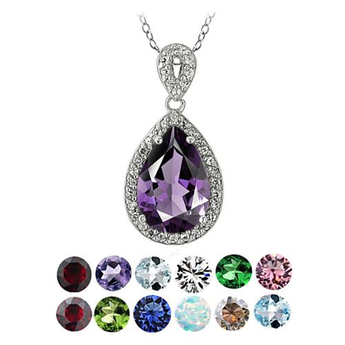 Glitzy Rocks Sterling Silver Birthstone Teardrop Necklace January - Garnet