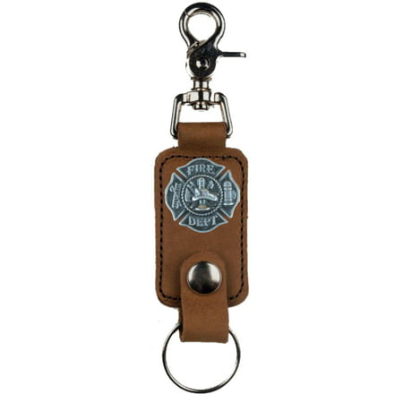 Valet Key Separator (Custom Fire Fighter Maltese Cross Mascorro Leather Valet Key Fob Brown )