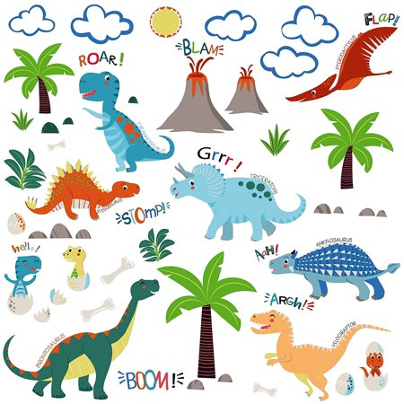 Jurassic World Dinosaurs Decorative Peel & Stick Wall Art Sticker Decals - Dinosaur Wall Decor