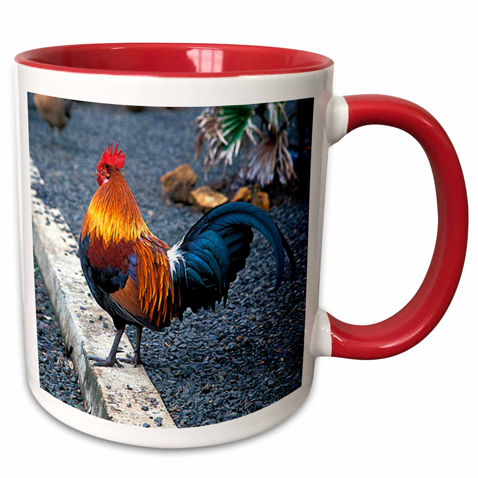 3dRose Rooster - Two Tone Red Mug, 11-ounce
