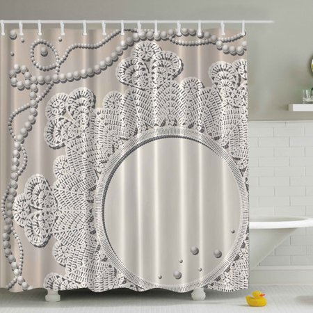 Ambesonne Pearls Mirror Lace Print Shower Curtain