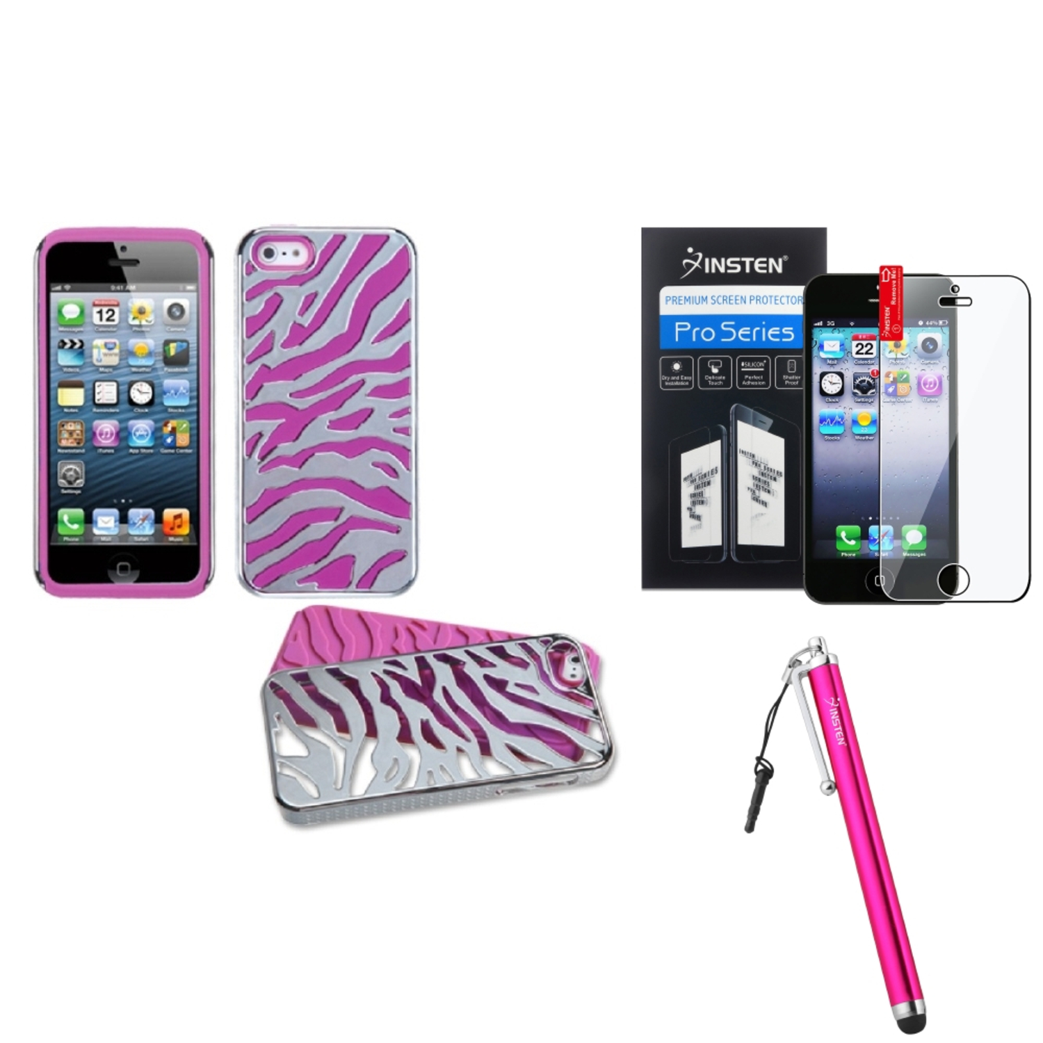 Insten Silver Plating Zebra Skin/Hot Pink Case For iPhone SE 5S 5   Stylus   Protector
