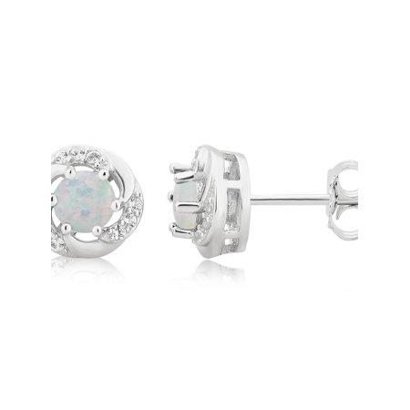 Gold Diamond Created Opal Earrings - White Gold Finish Created Opal Solitaire Simulated Diamond Earrings 6MM