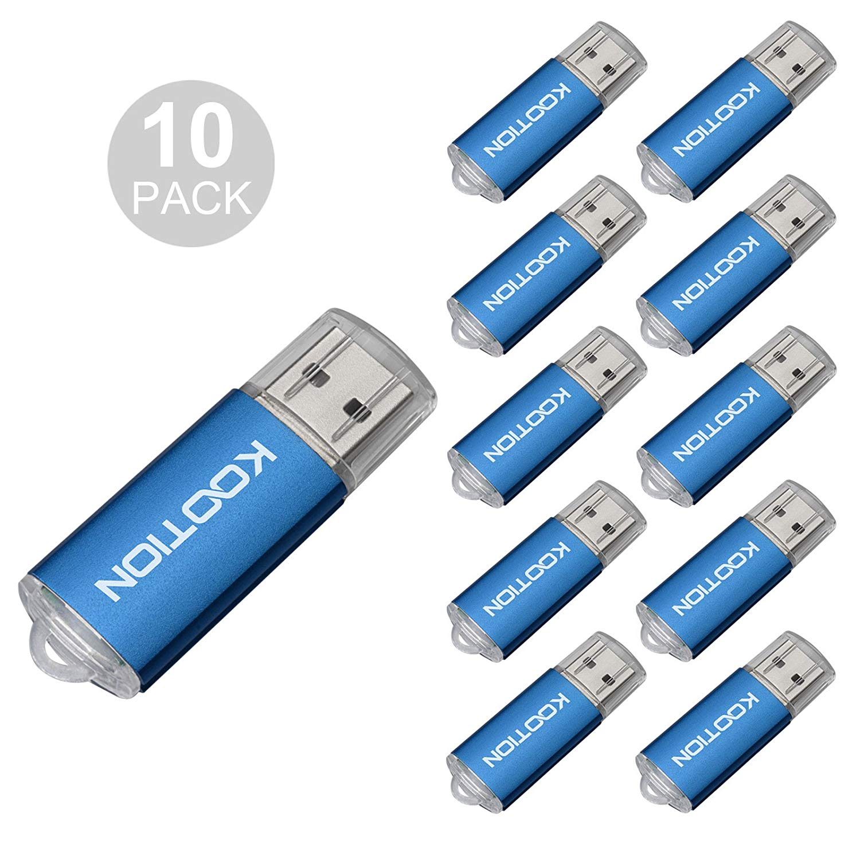 KOOTION 10Pack 4GB USB 2.0 Flash Drives Memory Stick Thumb Drive, Blue