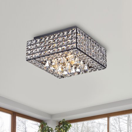 The Lighting Store Gisela Modern Square Crystal Flush Mount Chandelier in Antique (Flushing Stores)
