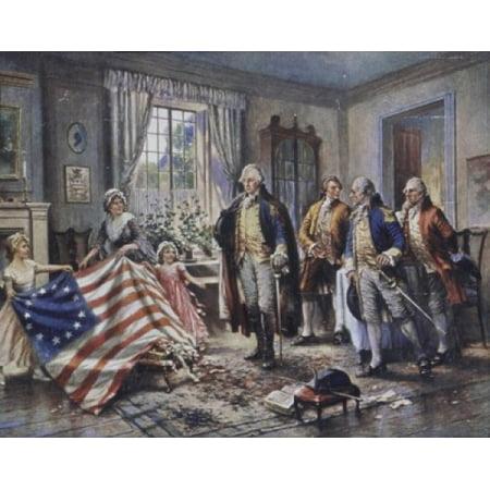 Betsy Ross Shows Washington the Stars and Stripes Edward Percy Moran (1862-1935American) Canvas Art - Edward Percy Moran (24 x (Betsy Ross 13 Star)