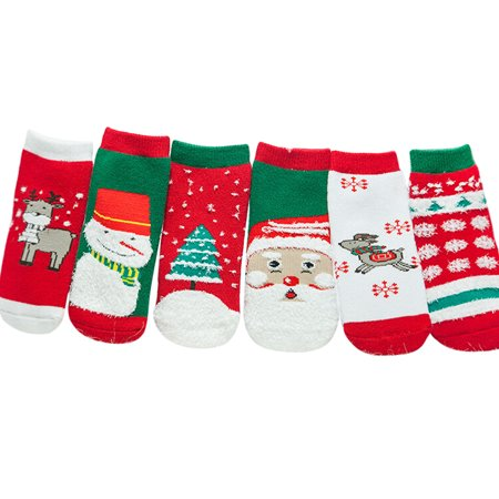 Boys Christmas Socks.6 Pairs Baby Girls Boys Christmas Socks Cartoon Thick Winter Warm Toddler Socks Cotton Socks For Kids