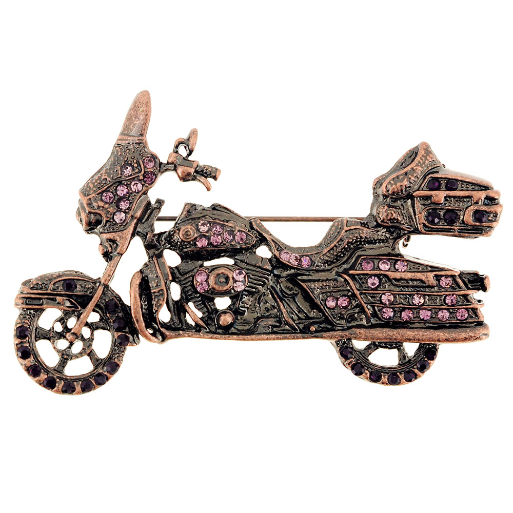 Pink Motorcycle Crystal Pin Brooch by