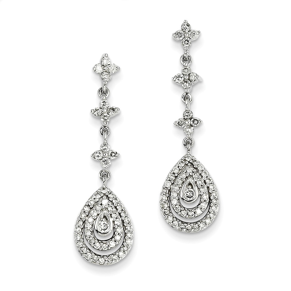 14k White Gold Diamond Earrings. Carat Wt- 1ct (1.3IN x 0.3IN )
