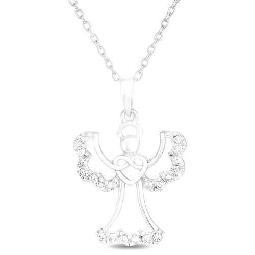 CZ Sterling Silver Uplifted Wings Angel Pendant, 18""
