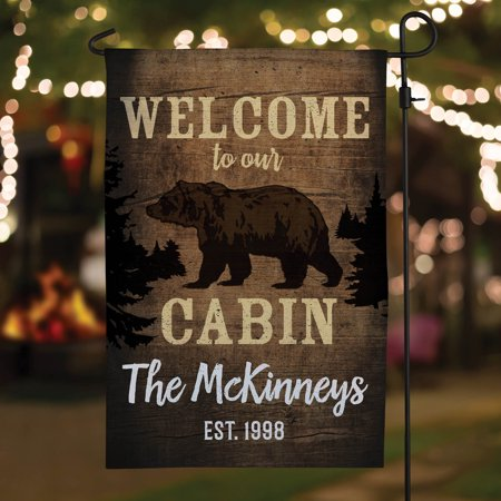 Welcome to Our Cabin Personalized Garden Flag