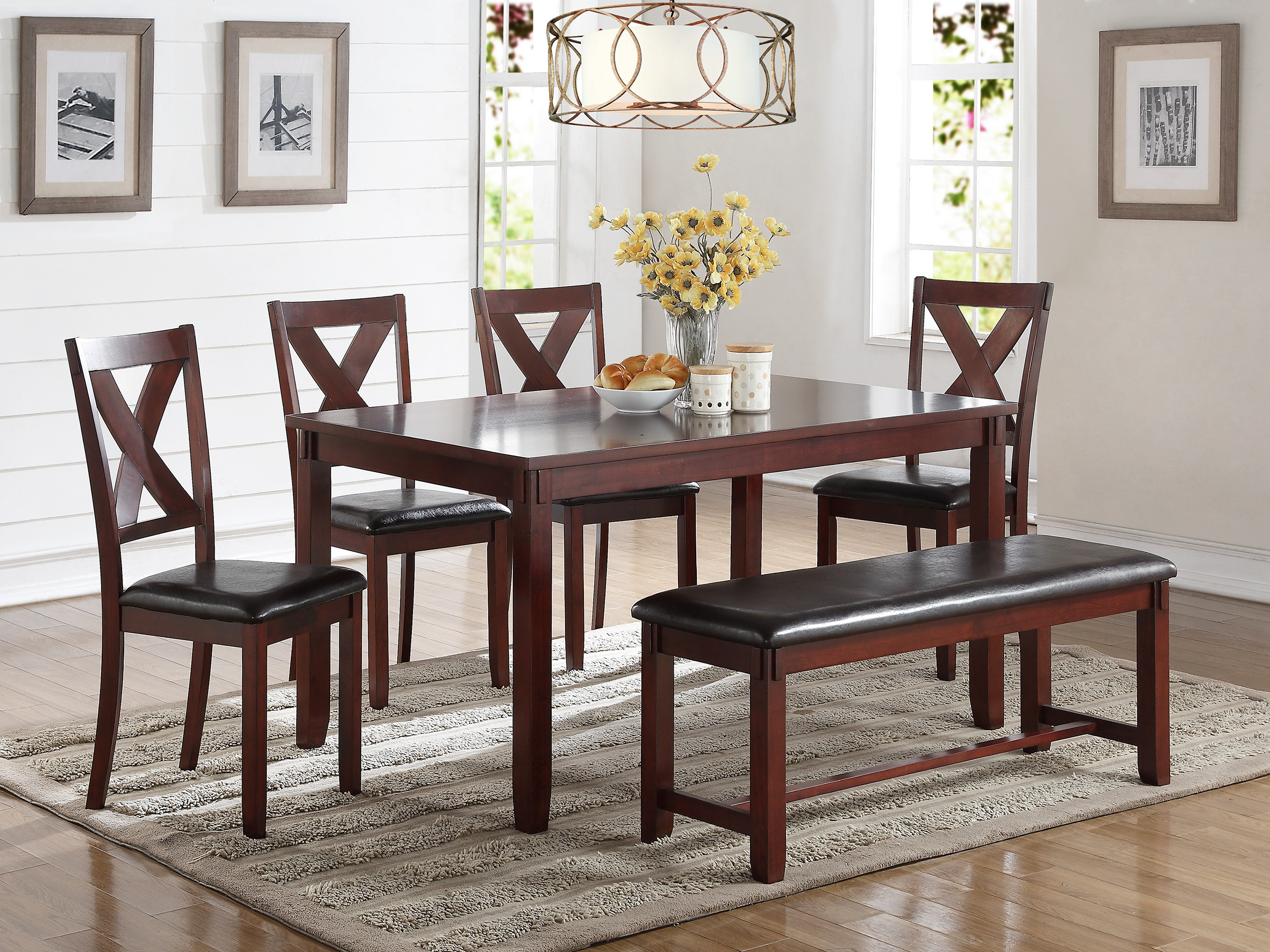 Modern 6pc Casual Simple Unique Dining Set Cherry Finish Wooden Top Dining  Table Cushion Seat Side
