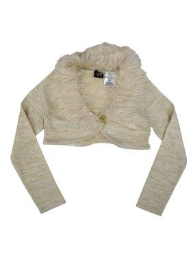 Little Girls Bone White Faux Fur Collar Button Long Sleeve Vest 6