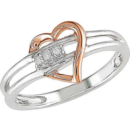 Heart Shape Diamond Accent Ring in 10kt White and Pink Gold