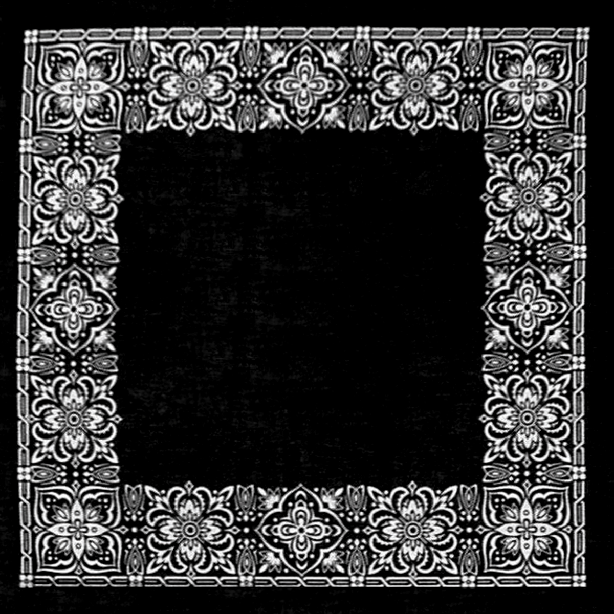 "Hav-A-Hank Open Center Bandanna, Black, 22"" x 22"""