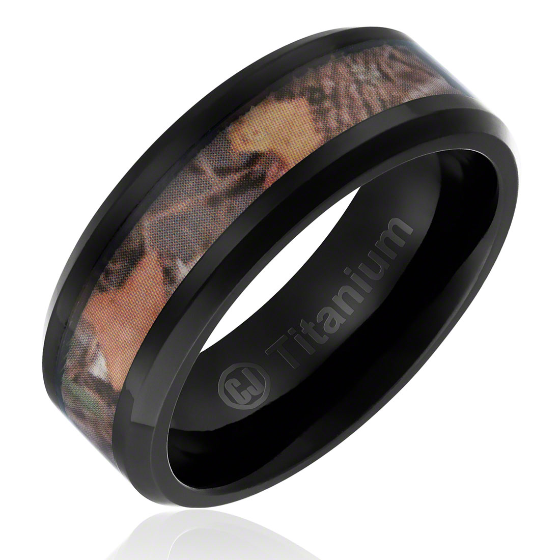 Mens Camo Hunting Wedding Band in Titanium 8MM Ring Black Plated with Camouflage Inlay - Beveled Edges
