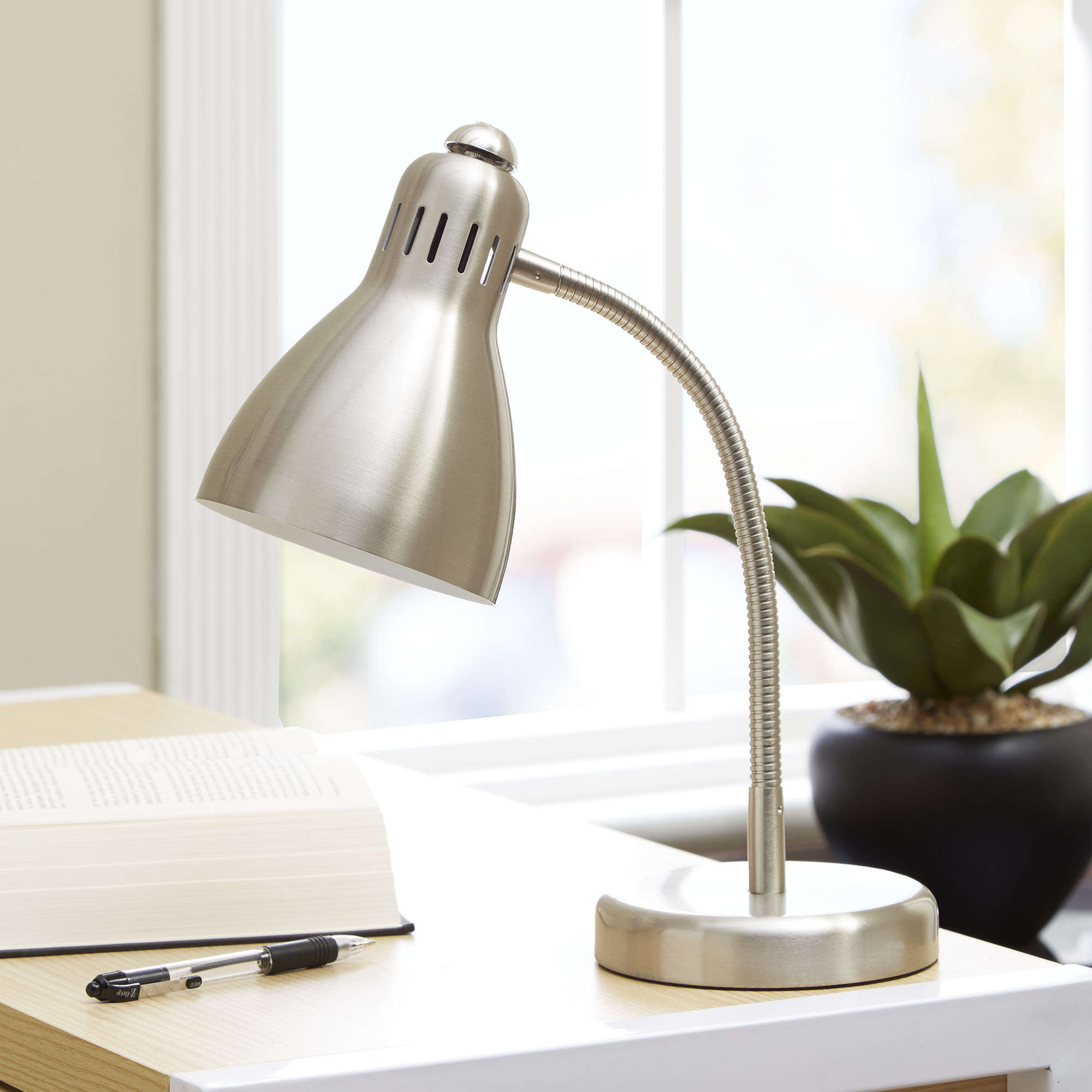 Mainstays Metal Silver Desk Lamp, CFL Bulb Included