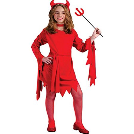 Girls Halloween Fancy Dress (Girls Darling Devil Kids Child Fancy Dress Party Halloween Costume, L)