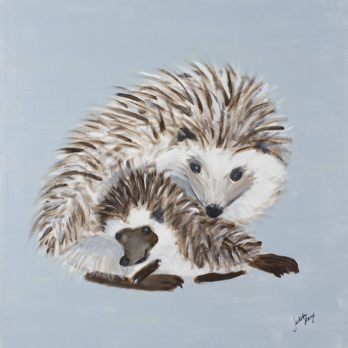 Judith Raye Paintings LLC Woodland Mommy and Baby Hedgehog by Judith Raye Canvas Art