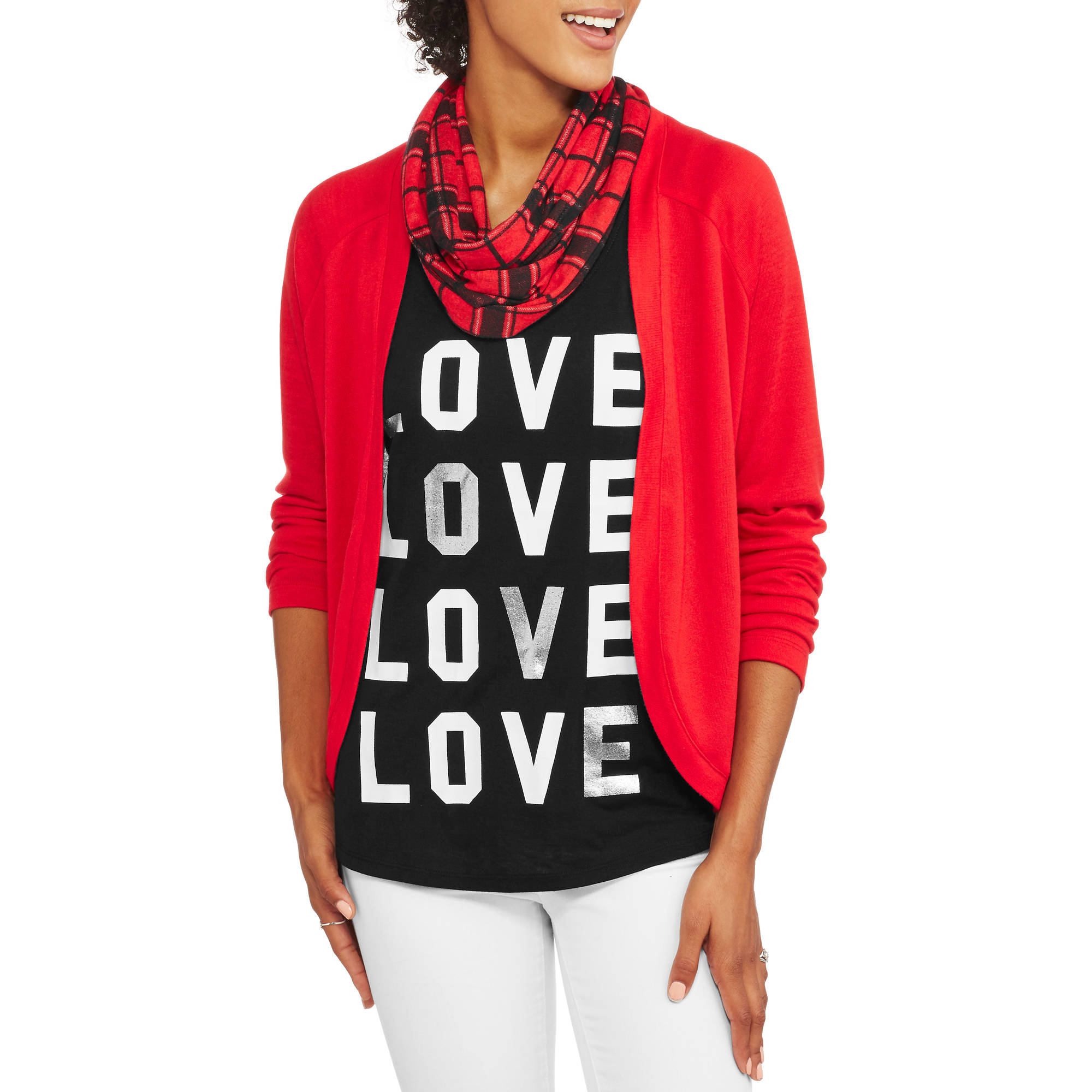 No Boundaries Juniors' Cozy Cardigan, Graphic Tank & Scarf 3Fer