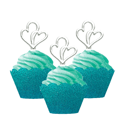12pk Double Heart Wedding Bridal Shower Cupcake Toppers w. Turquoise Glitter Wrappers