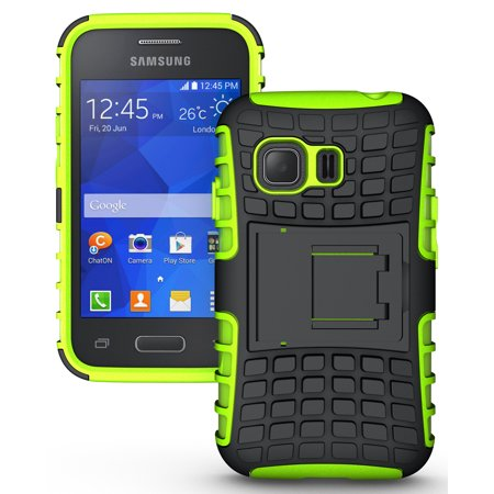 Lime Green Silicone Skin (NAKEDCELLPHONE NEON LIME GREEN GRENADE GRIP RUGGED TPU SKIN HARD CASE COVER STAND FOR SAMSUNG GALAXY YOUNG-2 G130 PHONE (SM-G130, SM-G130H, Unlocked))