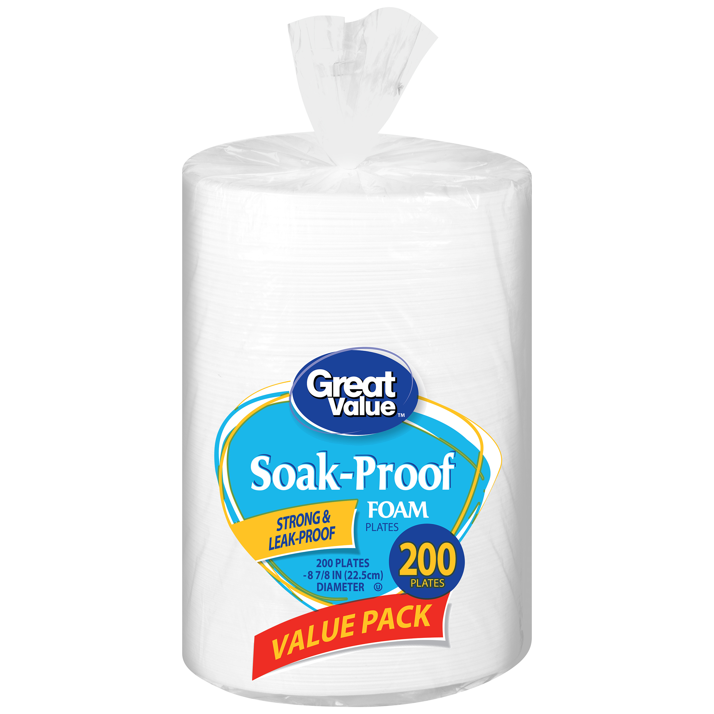 "Great Value Soak-Proof Foam Plates, Value Pack, 8 7/8"", 200 Count"