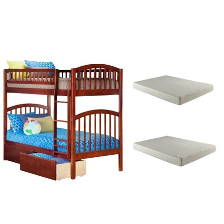 3 Piece Bedroom Set with Twin over Twin Bed and 2 Mattresses in Walnut