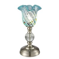 """12"""" Blue and Silver Colored Uplight Art Decorative Table Accent Lamp"""