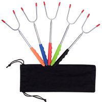 """5Pcs Telescoping Marshmallow Roasting Sticks, Hot Dog wiener Roasting Sticks 11''-45"""" Stainless Steel Barbecue Forks with Hop-pocket for Safe Campfire Bonfire Kids Camping, Smore Skewers(5 Colors)"""