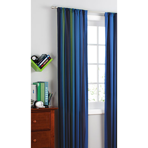 your zone printed microfiber window curtains, blue stripe, set of 2