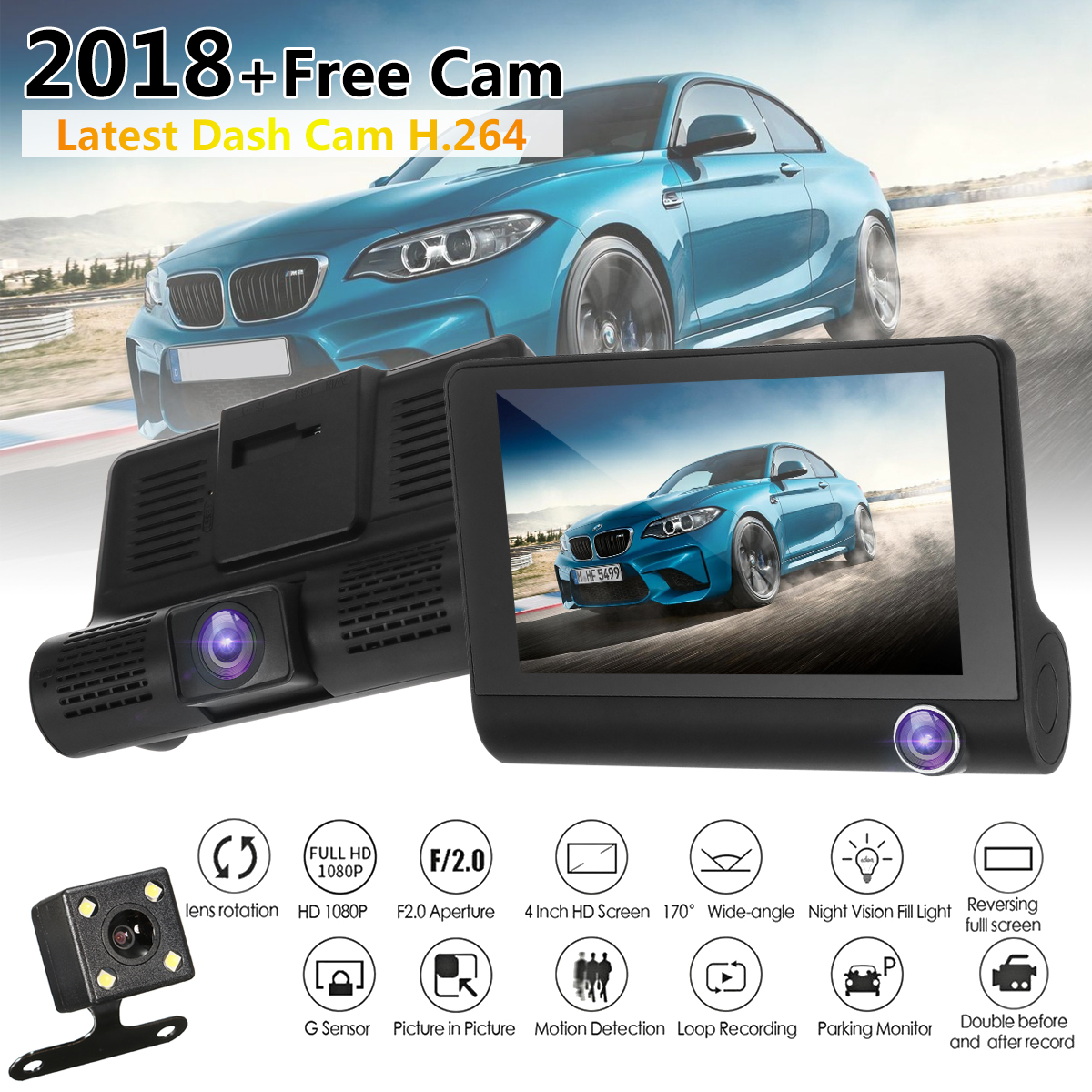 Dual/Three Lens Camera 1080P HD 4'' 170° Car DVR Rearview Dash Cam Video Dashboard Recorder Camera +Parking Mointor +Front Inside Night Vision G-sensor Camcorder Motion Detection