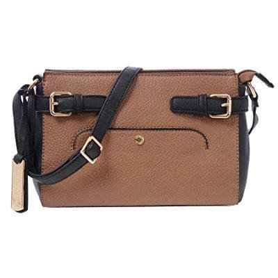 4749437981a2 ... laura ashley womens faux leather cross body clutch with buckle  detailing (camel)