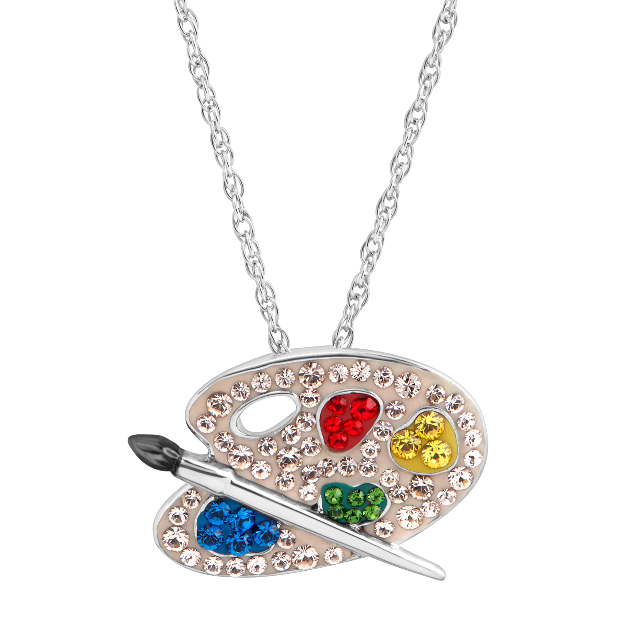 Luminesse Paint Palette Pendant Necklace with Swarovski Crystals in Sterling Silver