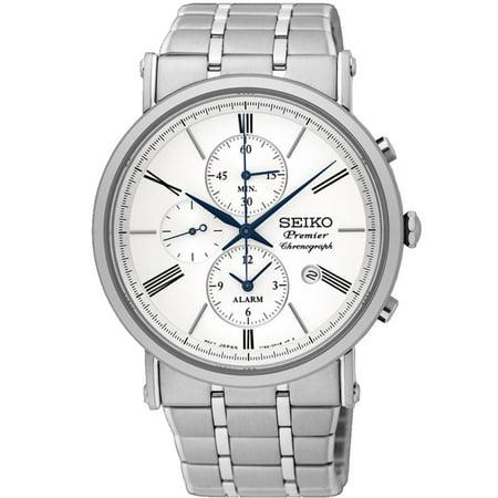 Men's Premier 41.2mm Steel Bracelet & Case Sapphire Crystal Quartz White Dial Analog Watch SNAF73