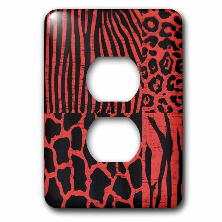 3dRose Black Animal Prints With Bright Red 2 Plug Outlet Cover lsp 37290 6